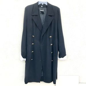 ESCADA black double breasted coat DRESS gold S tie